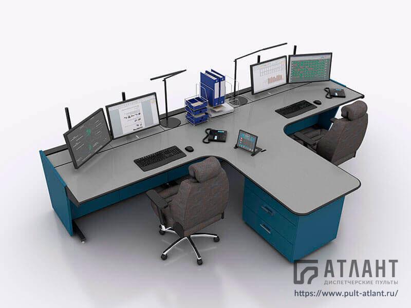 Технологическая мебель Атлант ТЕРРА на два рабочих места с общей рабочей зоной в Т-образной конфигурации