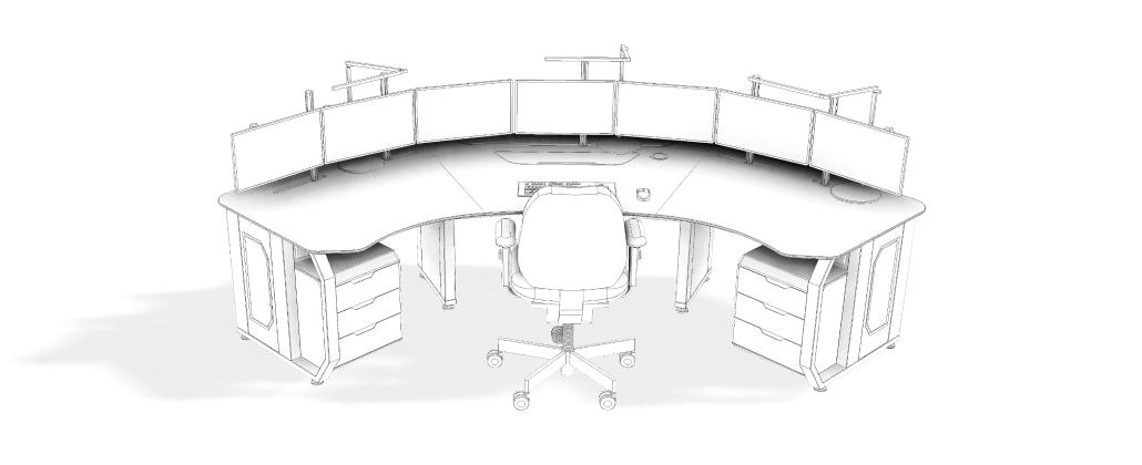 Стол пульт Атлант ДЕЛЬТА на одного диспетчера с размещением 7 мониторов в черно-белом варианте (скетч)