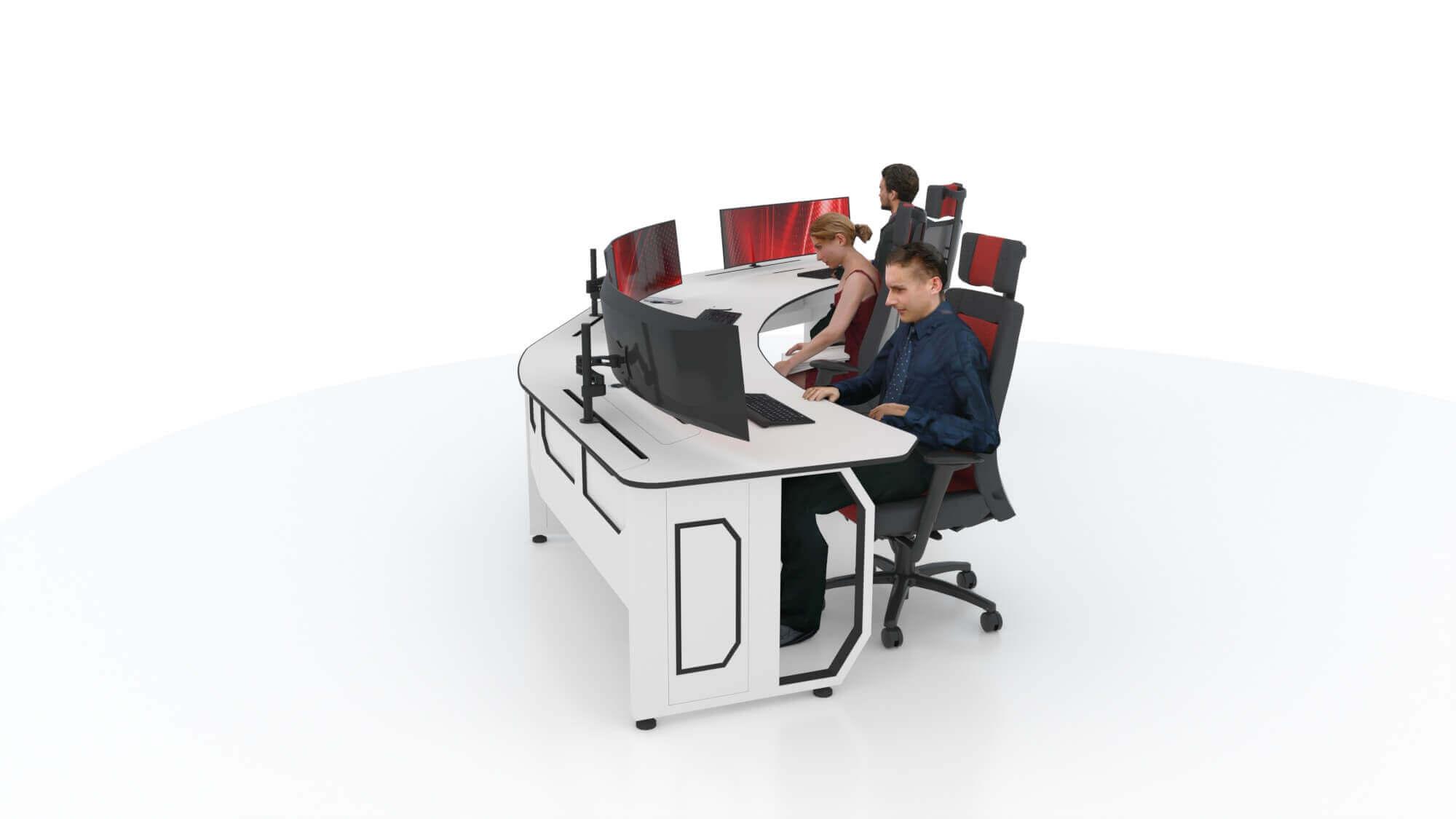 Пульт оператора на три рабочих места с единой столешницей