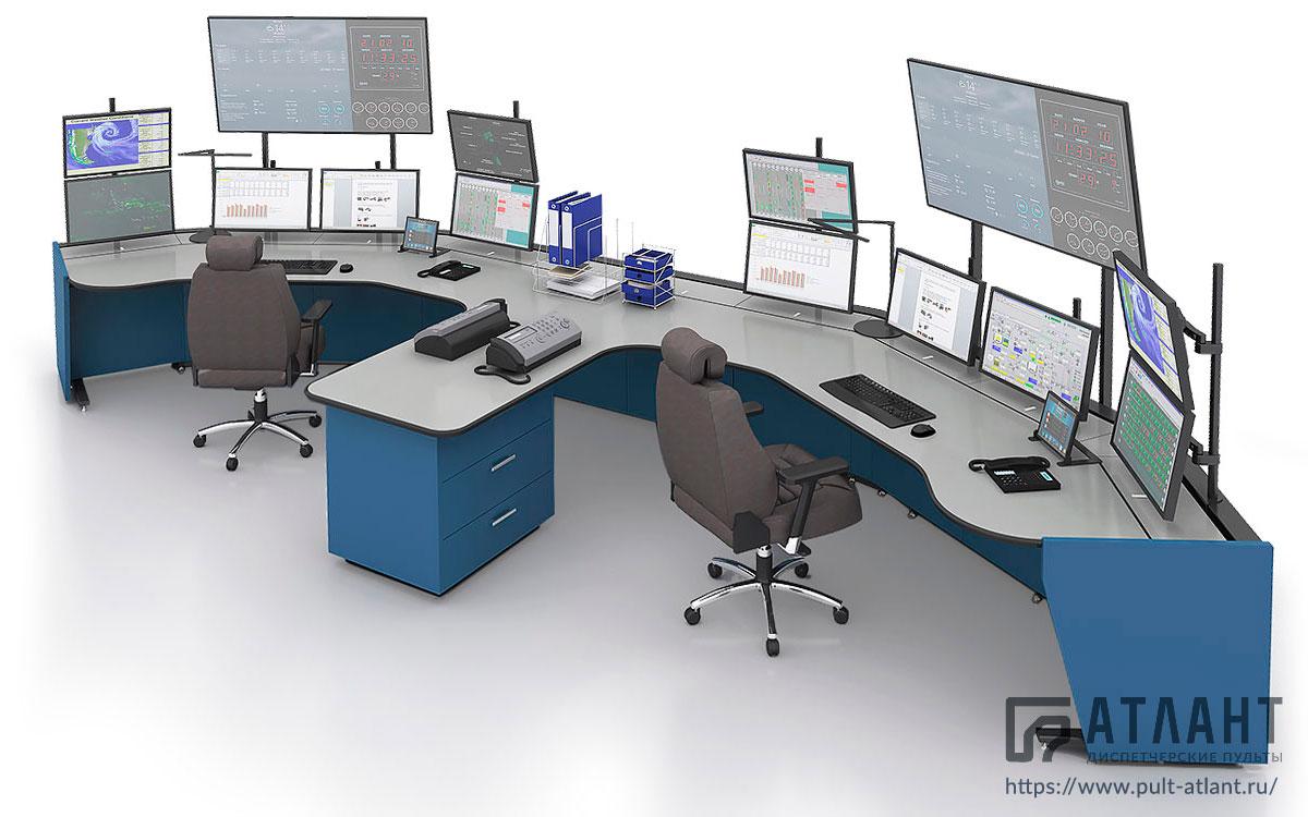 Диспетчерский пульт Атлант ТЕРРА на два рабочих места с большим количеством мониторов в Э-образной конфигурации