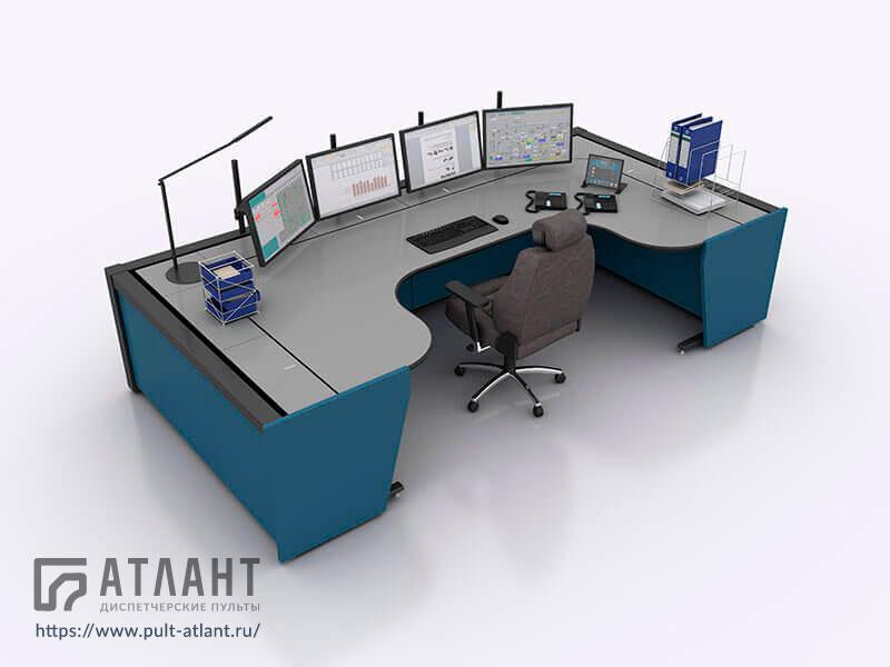 Диспетчерская мебель Атлант ТЕРРА на одного диспетчера с боковыми столешницами в П-образной конфигурации