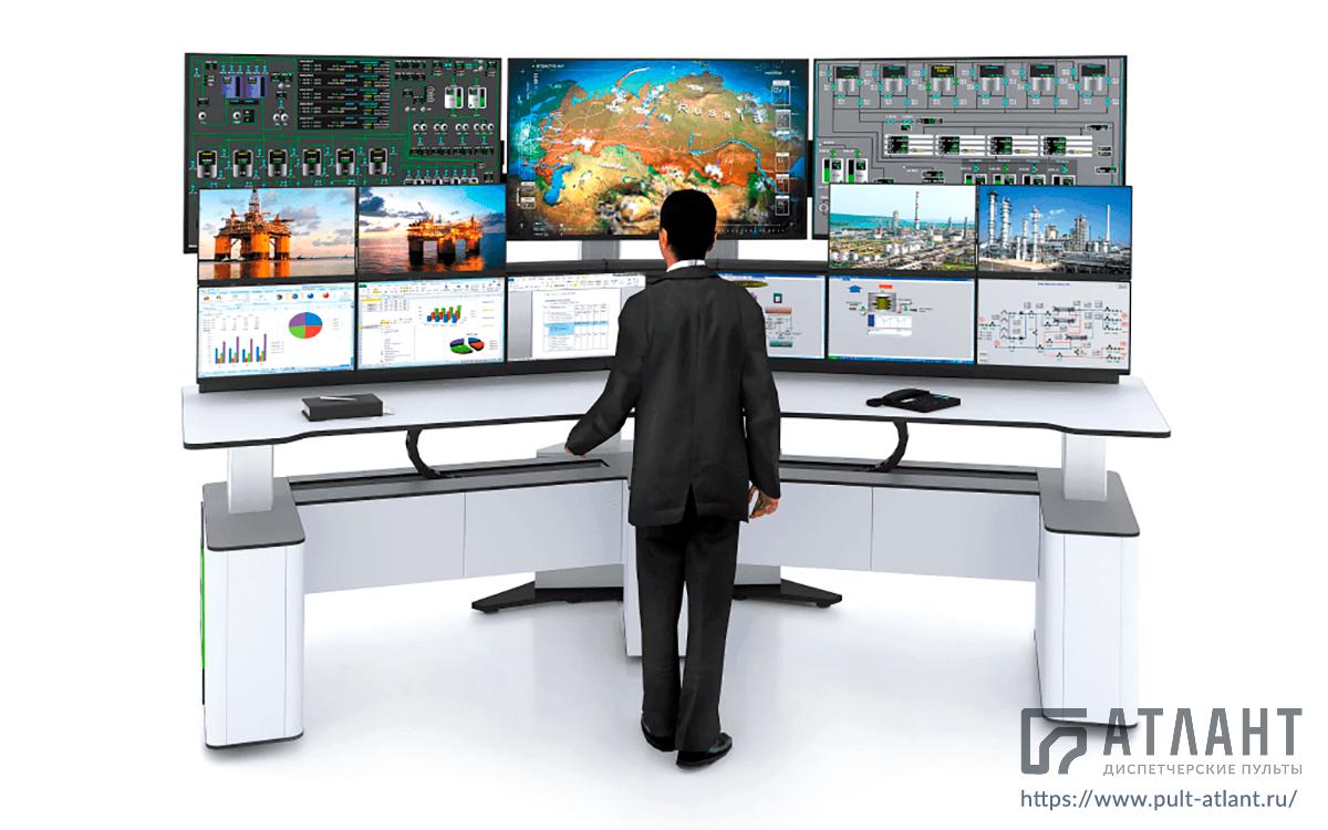 Стол диспетчера Атлант ФОРТ с подъемной столешницей для диспетчерских пунктов и операторных залов