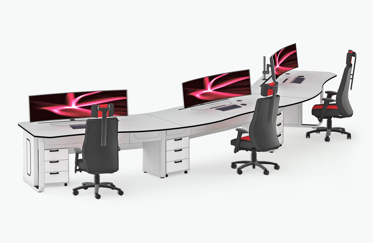 Технологическая мебель Атлант ДЕЛЬТА в конфигурации с внешней дугой на три рабочих места