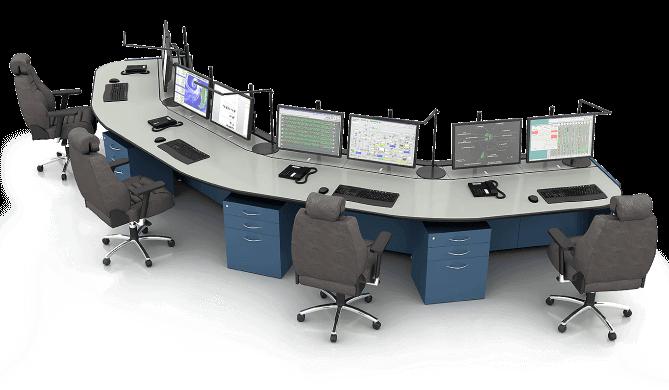 Стол диспетчера Атлант ТЕРРА на четыре рабочих места в конфигурации внешней дуги
