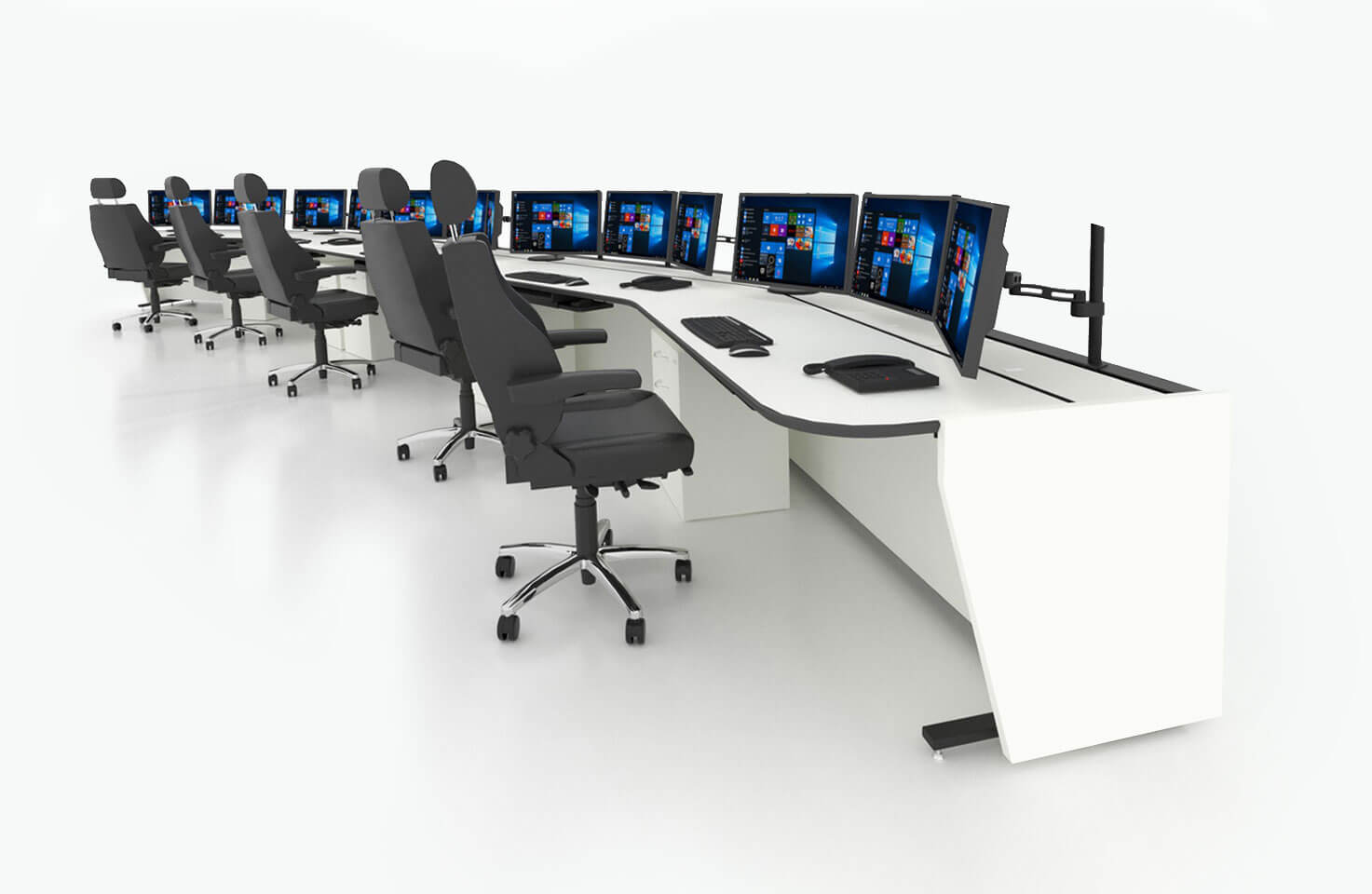 Диспетчерский стол Атлант ТЕРРА в конфигурации длинного пульта на пять рабочих мест