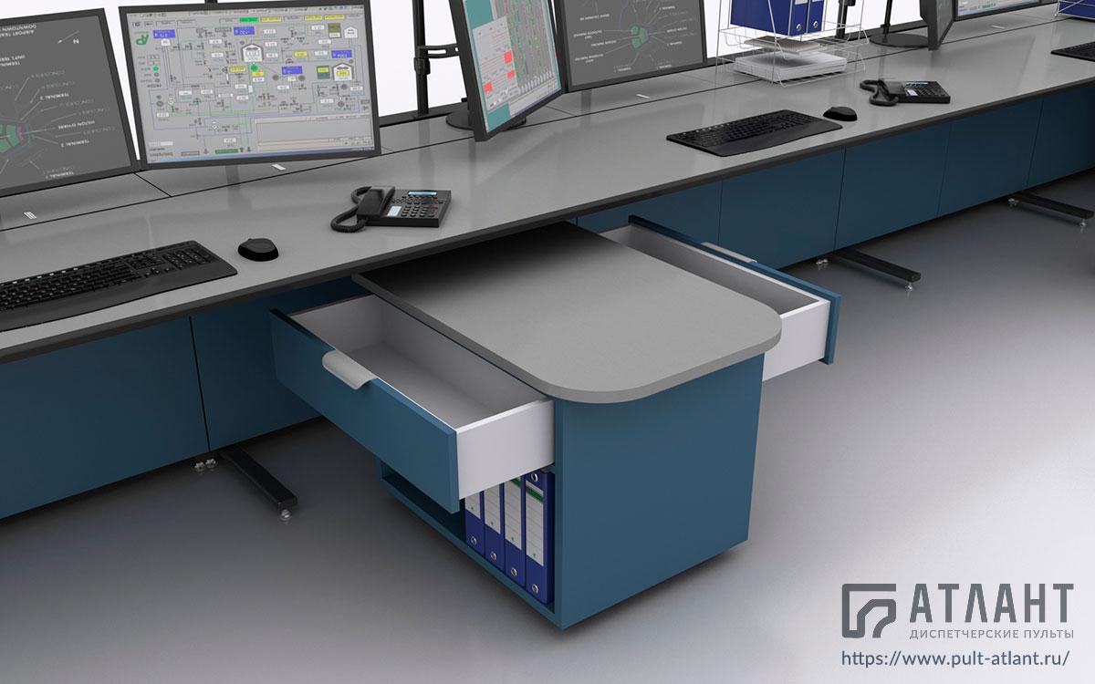 Диспетчерский стол обладает разделительными тумбами с выдвижными ящиками на две стороны