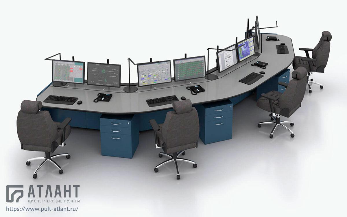 Стол диспетчера Атлант ТЕРРА с единой столешницей на четыре диспетчера в конфигурации внешней дуги