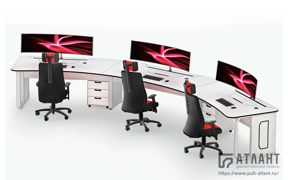 Стол-пульт Атлант ДЕЛЬТА на три рабочих места с большими мониторами и единой столешницей