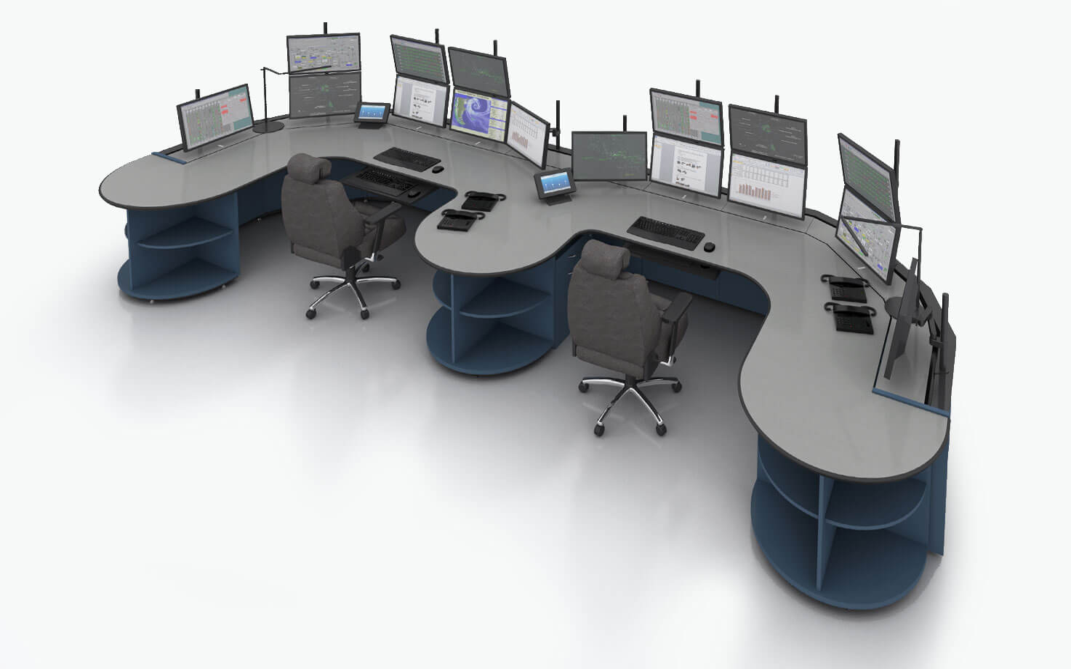 Стол-пульт Атлант ТЕРРА Е-образной конфигурации с полукруглыми разделительной и торцевыми тумбами