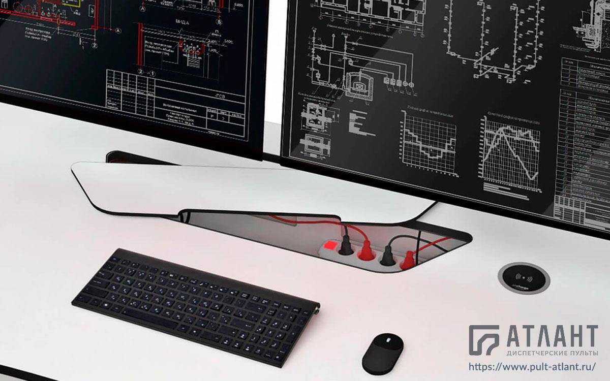 Технологическая мебель Атлант ДЕЛЬТА с лючком доступа в технический отсек и электропитанием