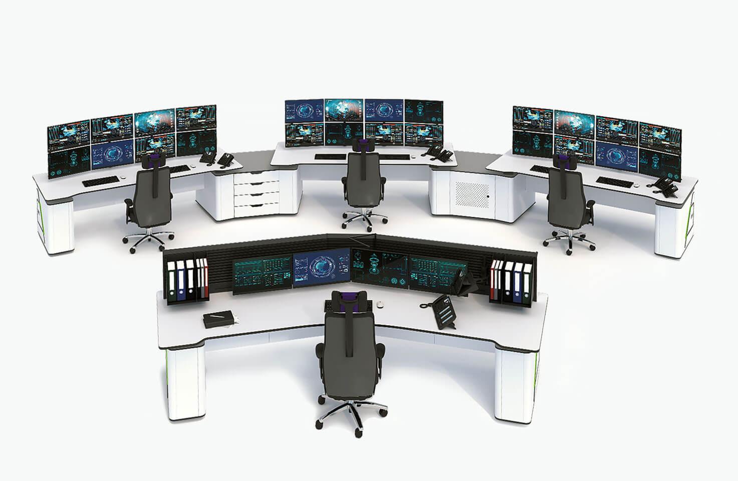 Диспетчерская мебель Атлант ФОРТ для управляющих и старшего диспетчера в групповой конфигурации