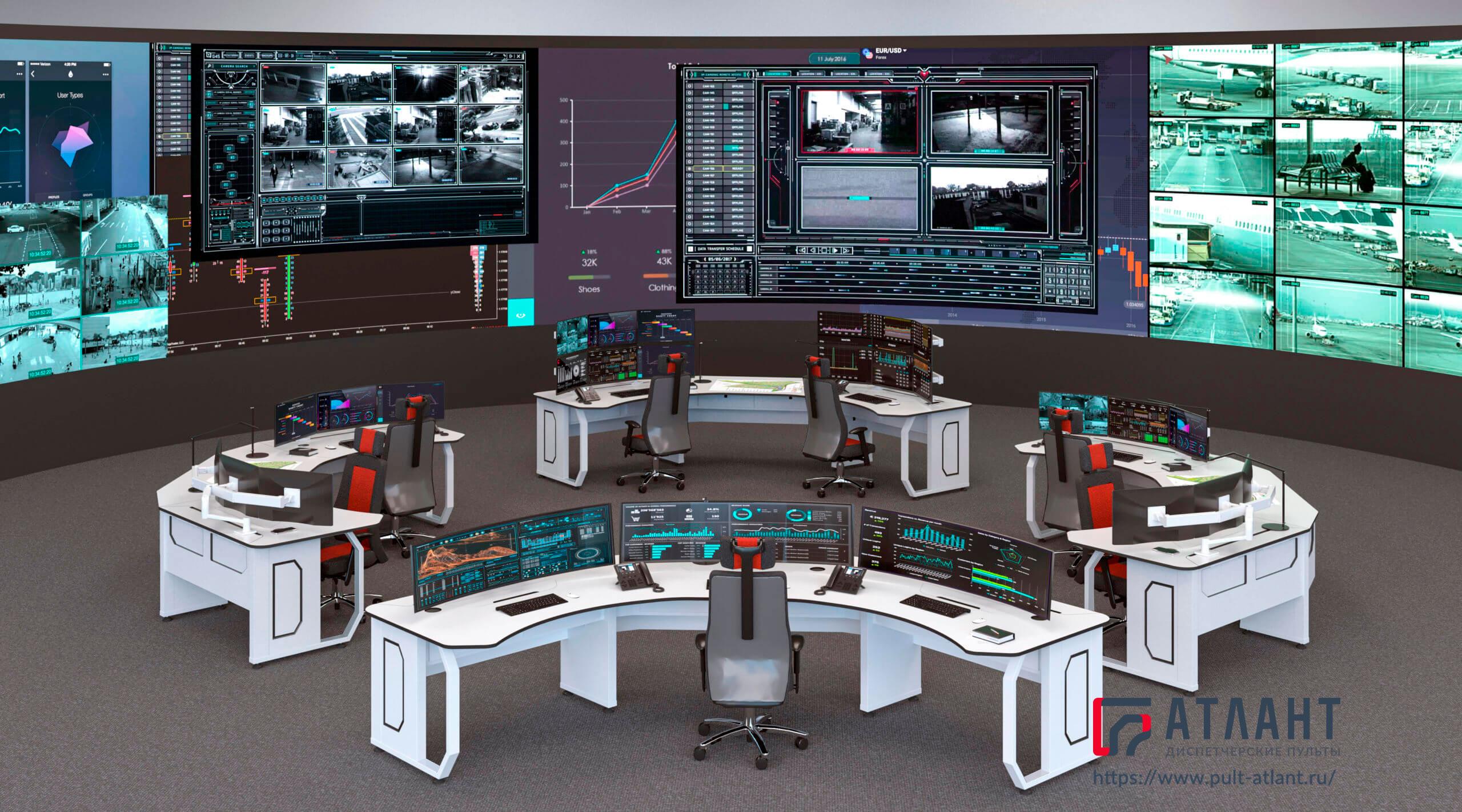 Стол диспетчера Атлант ДЕЛЬТА в групповой конфигурации со старшим диспетчером